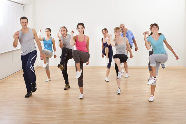 Group of people doing aerobics exercises