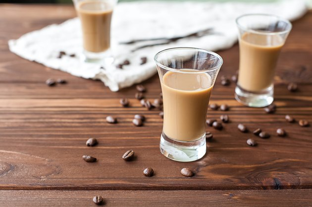 Coffee liqueur with coffee beans
