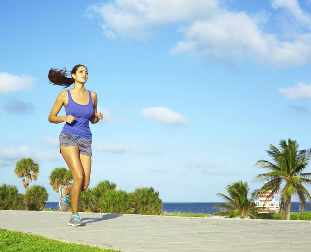 Pretty Mixed Race Woman Jogging