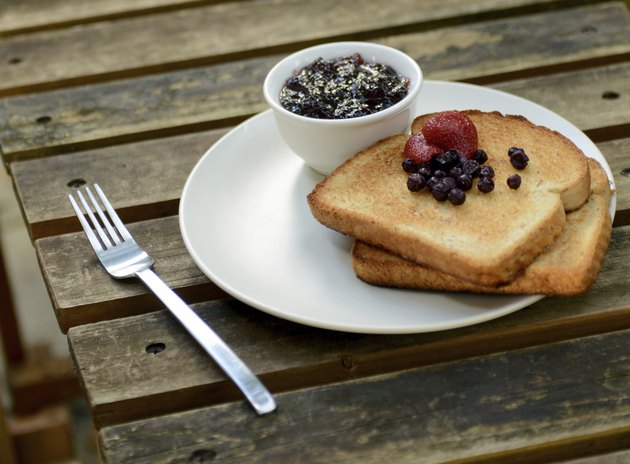 toast with berries and jam