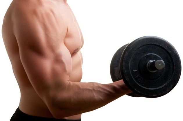 Personal Trainer doing standing dumbbell curls for training his biceps