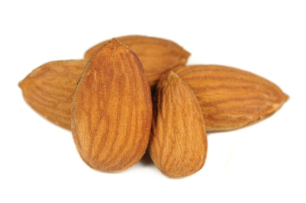 Shelled Almonds Isolated on White Background
