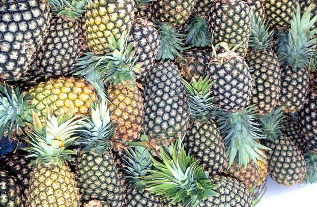 High angle view of a pile of pineapples