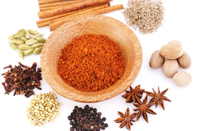 A top angle view of a variety of spices
