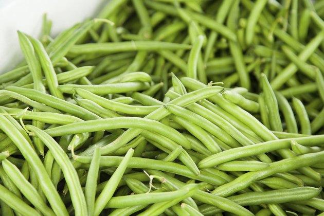 Pile of fresh long green beans