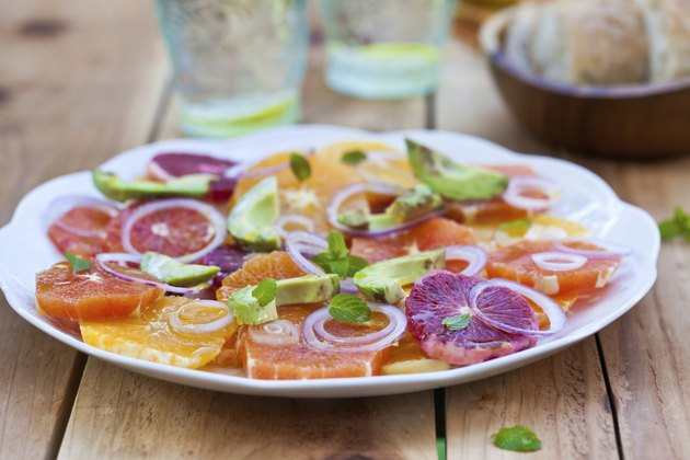 Salad with Citrus Fruits, Avocado and Onion. Ready-to-eat.