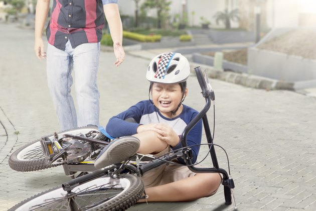 Kid gets accident with his bike and crying