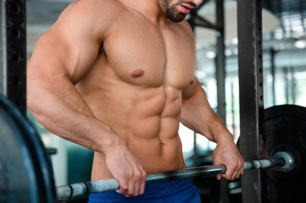 Closeup portrait of a muscular male chest with barbell in gym