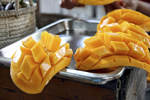 Ripe mangoes slices.