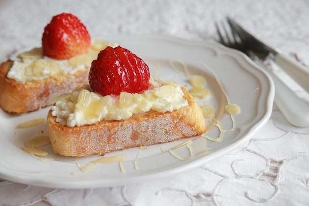 Homemade Strawberries and ricotta cheese on sourdough toast