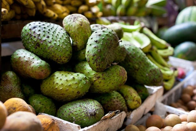 Soursop fruit on asian market, Philippines