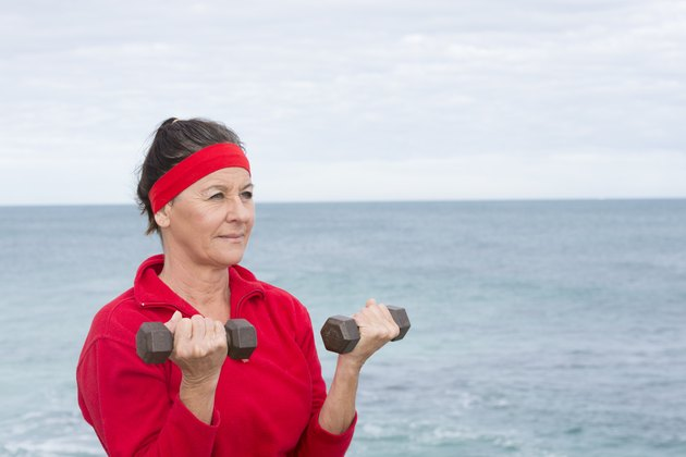 Fit Confident senior woman exercising outdoor