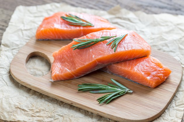 Raw salmon on the wooden board