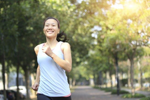 woman jogging at morning park