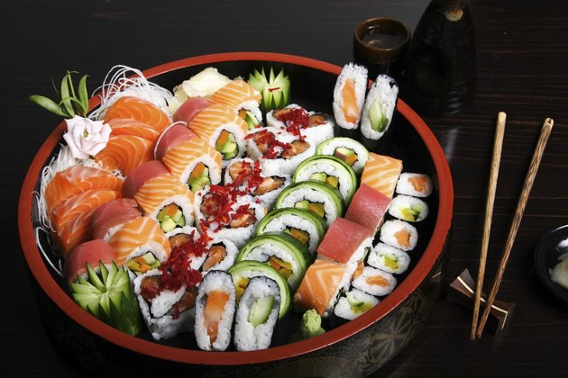 Sushi and rolls.