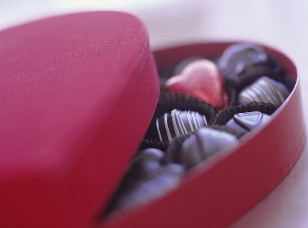 Love heart box of chocolates, close-up