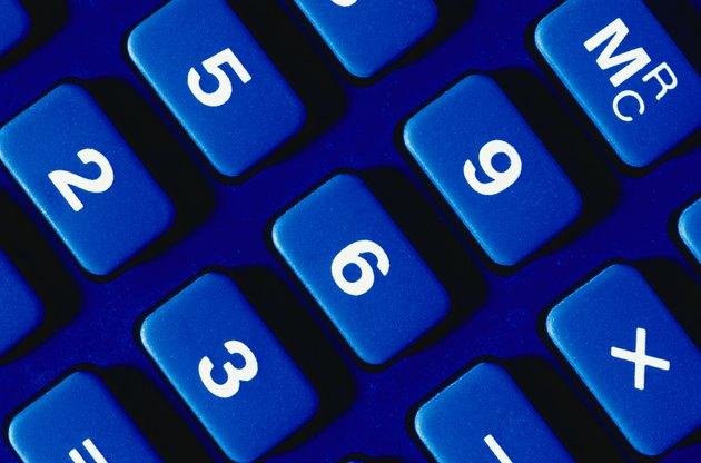 Blue calculator keys, close-up