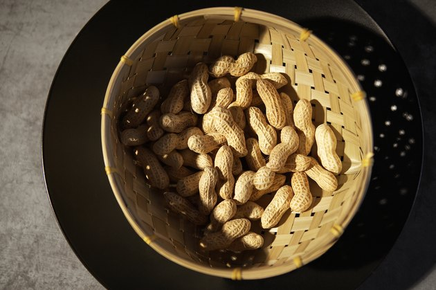 Peanuts in basket, view from above