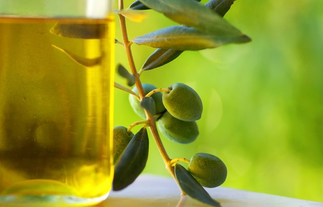 Oliveoil and olives.