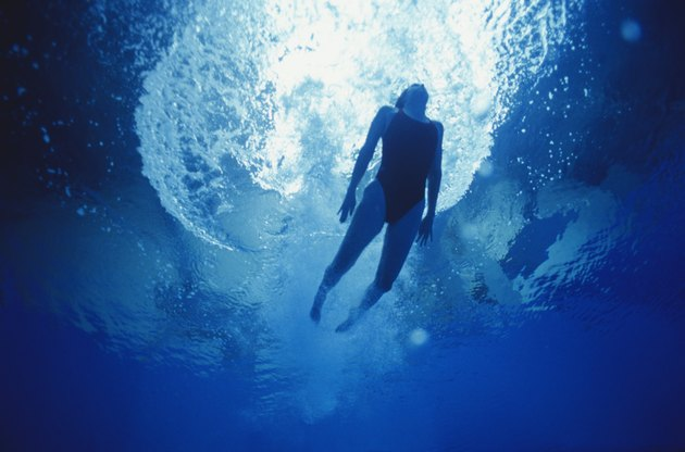 Woman swimming, underwater view