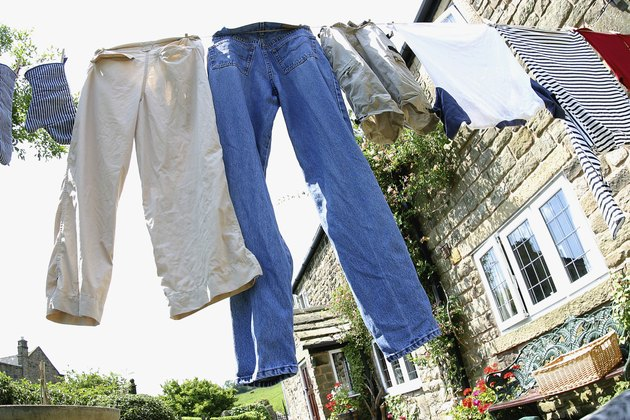 Low angle view of clothes drying on a clothes line