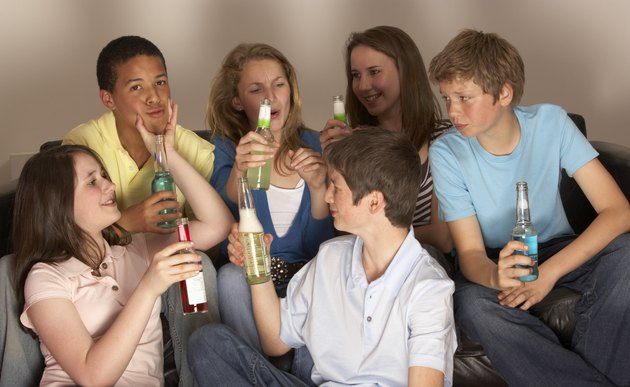 Teenagers with drinks