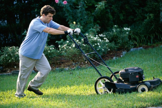 Mid adult man mowing the lawn with a lawn mower