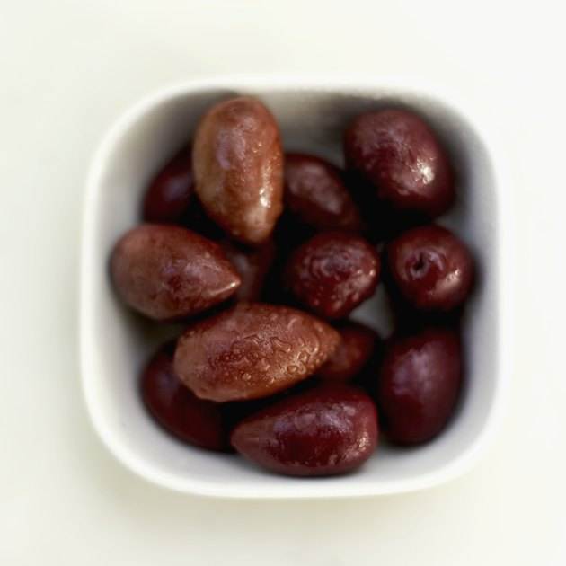 Elevated view of a bowl of olives