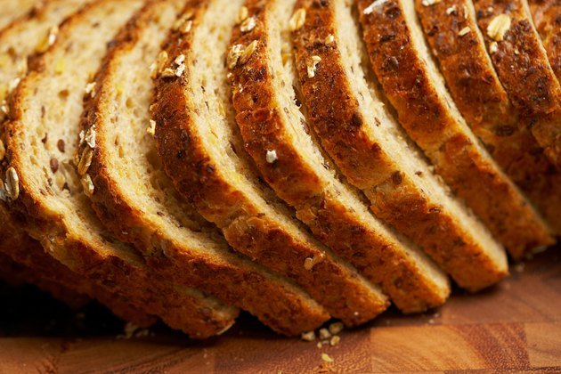 Close-up of slices of whole grain bread