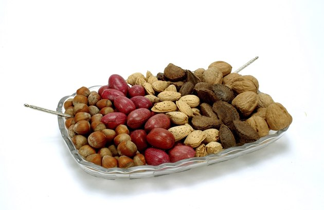 Assorted nuts on tray