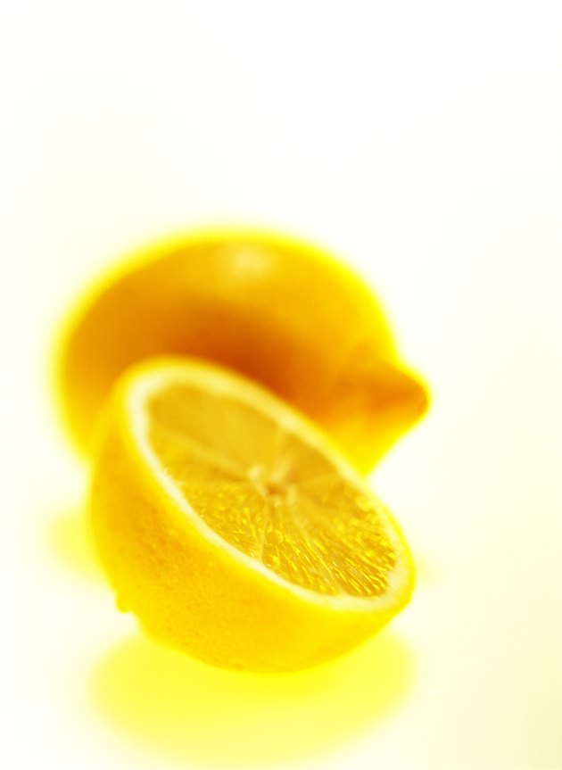 close-up of cut open lemon