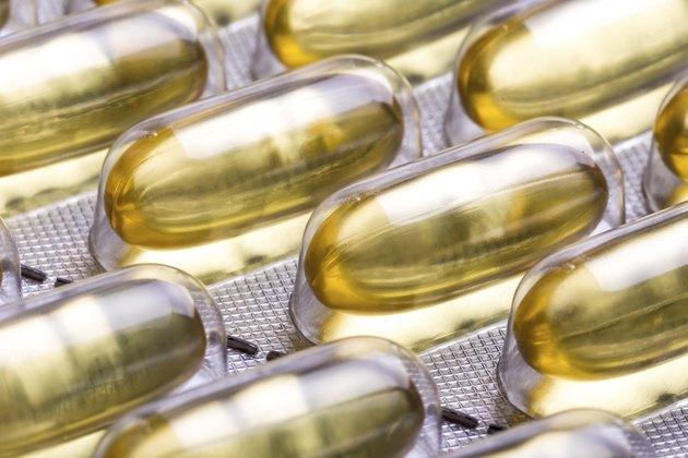 omega 3 capsules close up