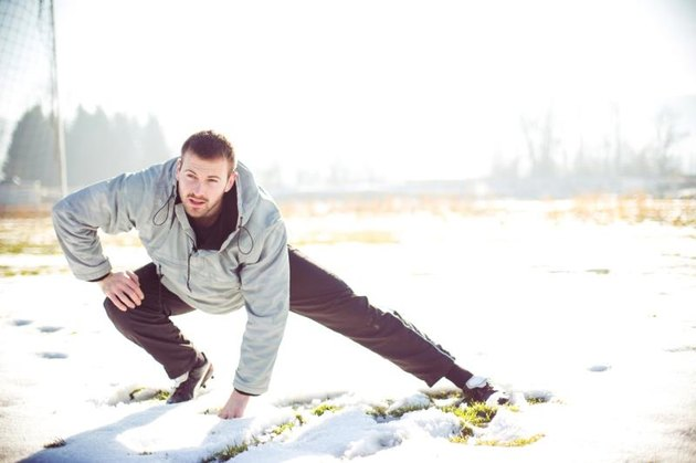 Man doing his training on winter day
