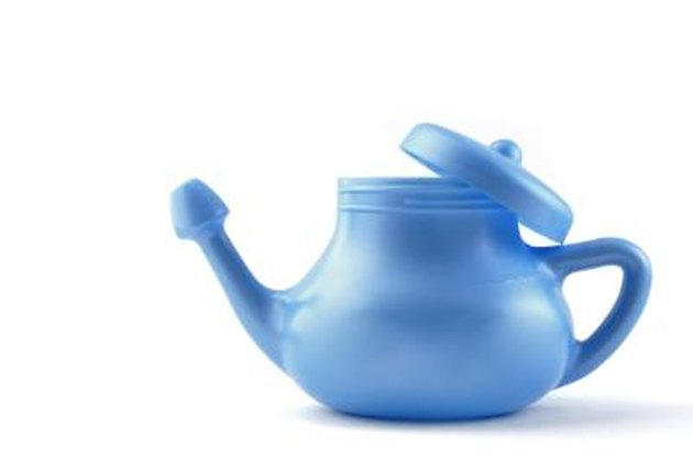 A modern plastic Neti Pot, used for nasal irrigation, a homeopathic remedy for sinus relief. Nasal irrigation has been practiced in India for centuries as one of the disciplines of yoga.