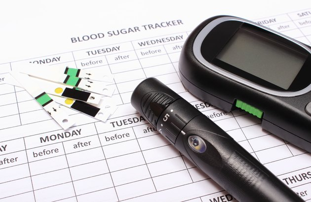 Glucometer and accessories on empty medical forms for diabetes