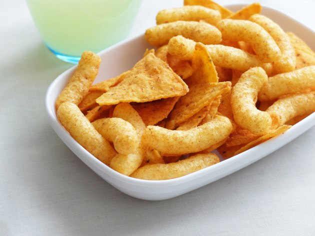 Junk food and a glass of lemonade.