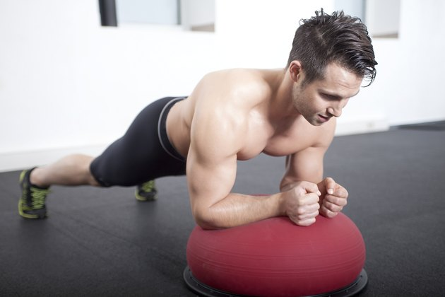 Plank on Bosu Gymnastic Ball