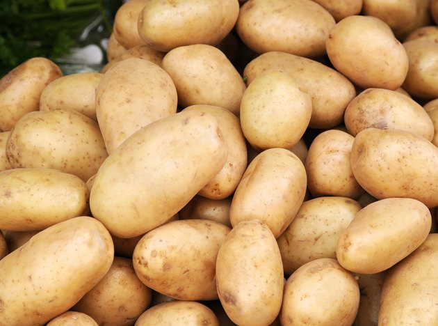 Young potatoes pile