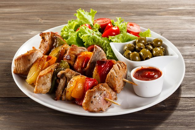 Kebab - grilled meat and vegetables