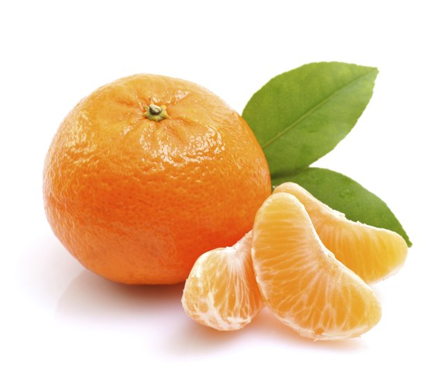 Tangerine on white ground