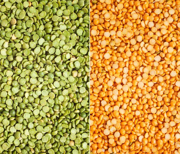 Green and yellow split peas