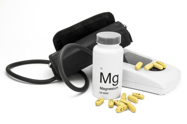 Bottle of Magnesium vitamins for healthy blood pressure