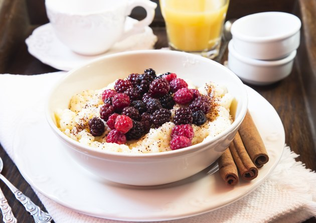Rice Pudding with Berries Fruits