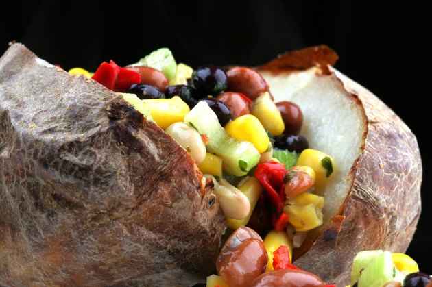 Healthy Delicious Baked Potato Filled with Mixed Bean Salad