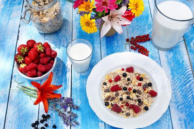 Healthy breakfast with wholegrain cereal in the garden