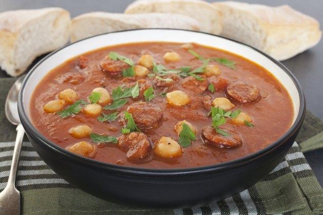 Tomato Chorizo Chickpea Soup