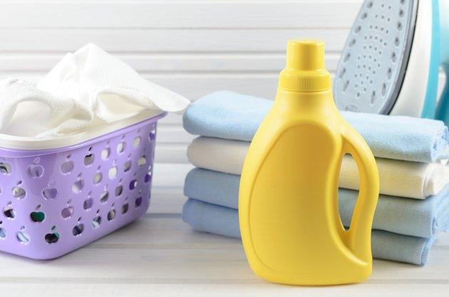 blank yellow detergent bottle