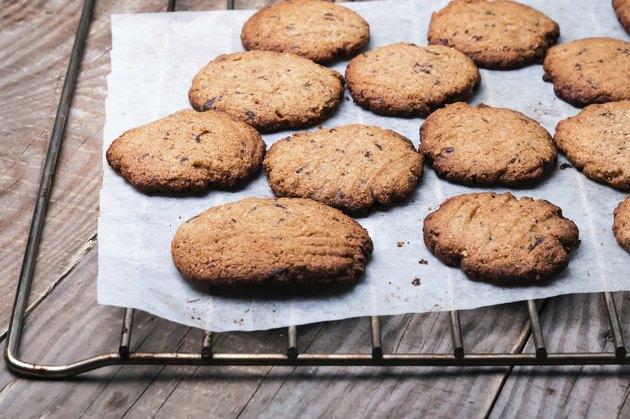 Homemade wholegrain cookies with chocolate