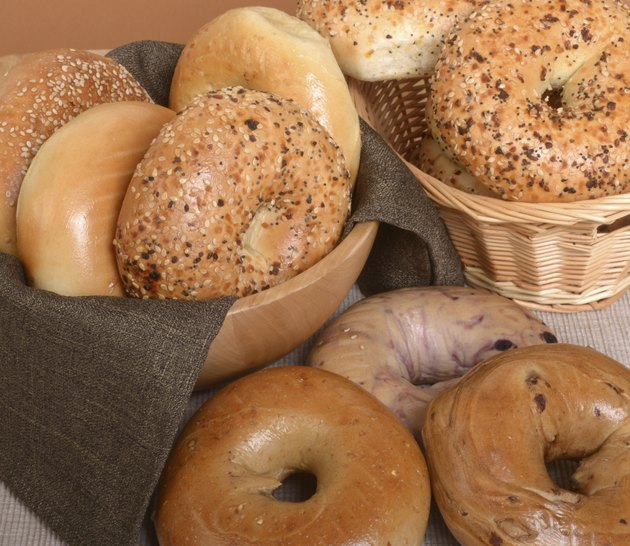 Variety of different types of bagels