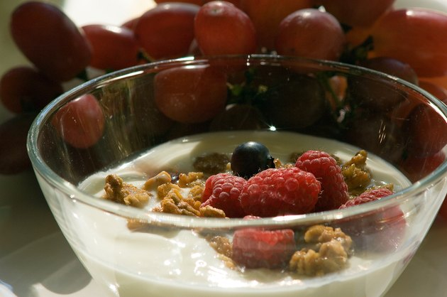 Bowl of yogurt with granola and berries